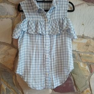 Piper Gingham cold shoulder Ruffle blouse 8